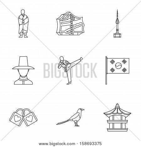 Stay in South Korea icons set. Outline illustration of 9 stay in South Korea vector icons for web