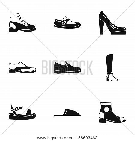 Kind of shoes icons set. Simple illustration of 9 kind of shoes vector icons for web