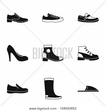 Footwear icons set. Simple illustration of 9 footwear vector icons for web