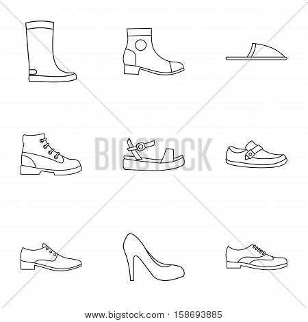 Kind of shoes icons set. Outline illustration of 9 kind of shoes vector icons for web