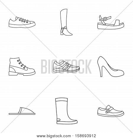 Footgear icons set. Outline illustration of 9 footgear vector icons for web