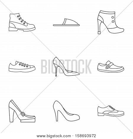 Types of shoes icons set. Outline illustration of 9 types of shoes vector icons for web