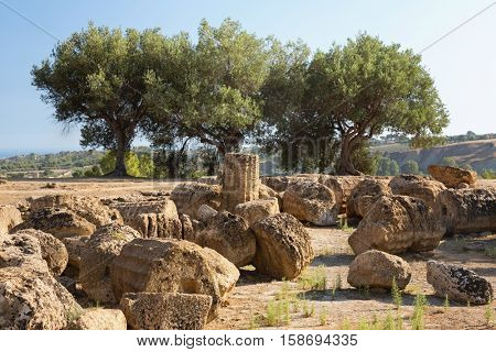 Ruins near the Temple of Castor and Pollux, which are a symbol of Agrigento, Valley of the Temples, Sicily.