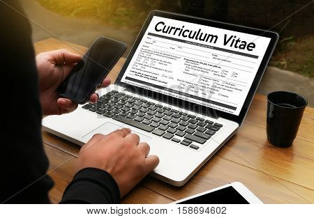 Cv - Curriculum Vitae  (job Interview Concept With Business Cv Resume) Cv Part Of Modern Resume , Cv