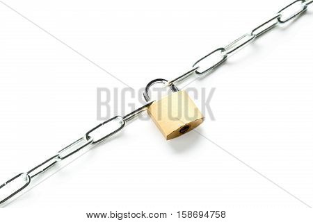 Brass padlock connecting two chains over white background - teamwork or security concept