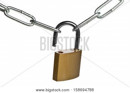 Open brass padlock connecting two chains over white background - weakest link concept