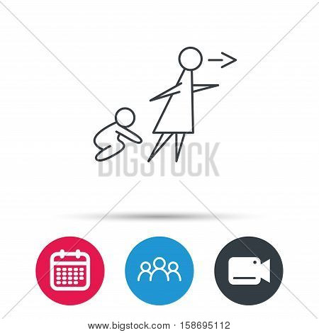 Unattended baby icon. Babysitting care sign. Do not leave your child alone symbol. Group of people, video cam and calendar icons. Vector