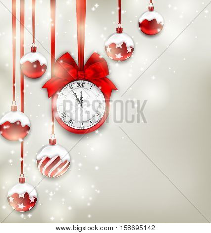 Illustration New Year Magic Background with Clock and Glass Balls, Glowing Holiday Adornment - raster