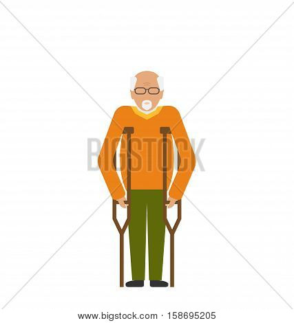 Illustration Older Man with Crutches. Disability, Elderly, Grandfather. Colorful Icon Isolated on White Background - raster