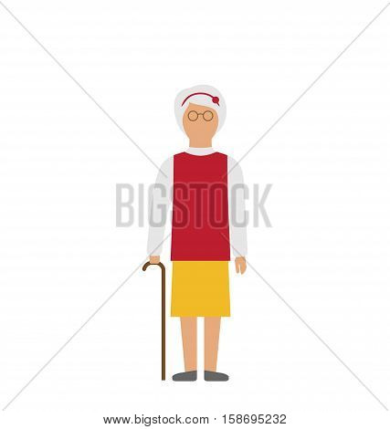 Illustration Old Woman Walking with Cane Isolated on White Background - raster