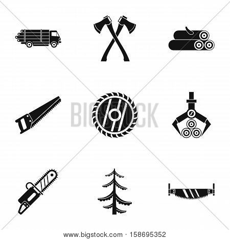 Cutting down trees icons set. Simple illustration of 9 cutting down trees vector icons for web
