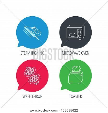 Colored speech bubbles. Microwave oven, waffle-iron and toaster icons. Steam ironing linear sign. Flat web buttons with linear icons. Vector