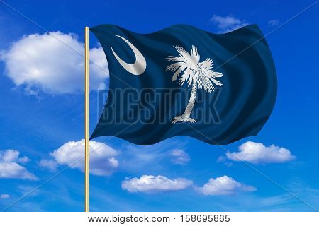 Flag of the US state of South Carolina. American patriotic element. USA banner. United States of America symbol. South Carolinian official flag waving in the wind blue sky background. Fabric texture. 3D rendered illustration