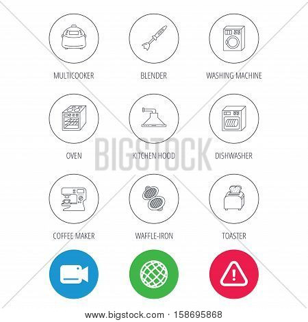 Dishwasher, washing machine and blender icons. Kitchen hood, coffee maker and toaster linear signs. Oven, multicooker and waffle-iron icons. Video cam, hazard attention and internet globe icons