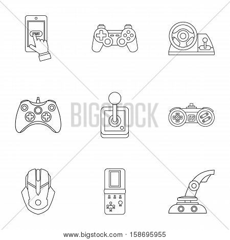 Game online icons set. Outline illustration of 9 game online vector icons for web