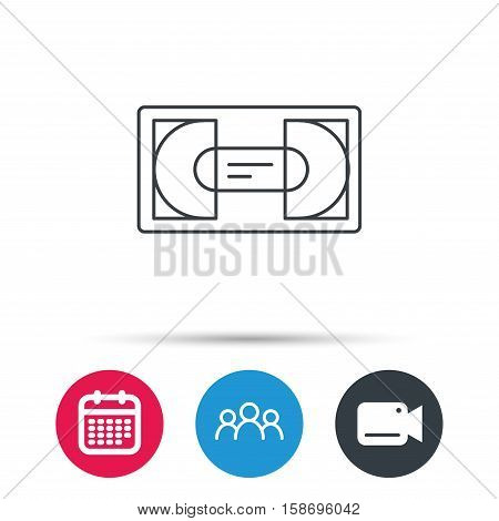 Video cassette icon. VHS tape sign. Group of people, video cam and calendar icons. Vector