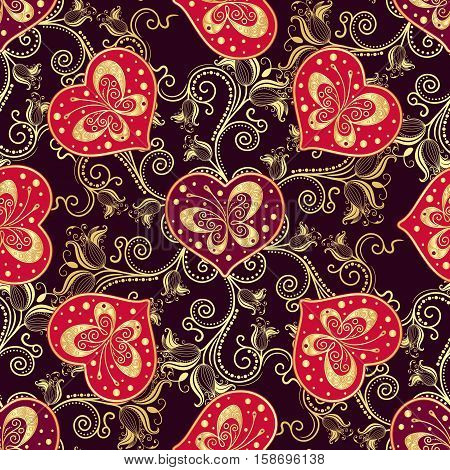 Valentine seamless dark pattern with purple hearts and gold butterflies (vector)