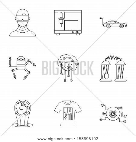 Computer latest devices icons set. Outline illustration of 9 computer latest devices vector icons for web