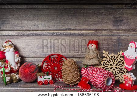 Christmas still life with different things on the wooden background. Copy space