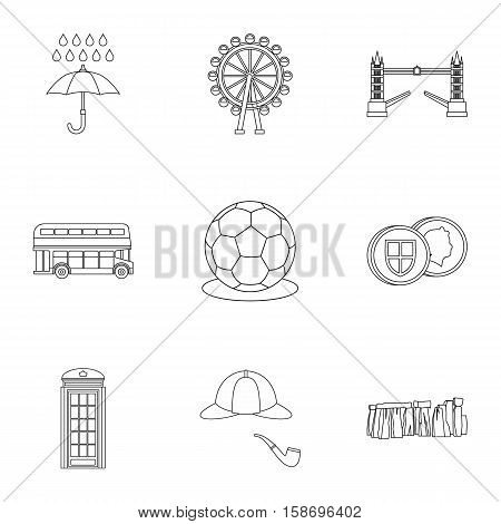 Holiday in United Kingdom icons set. Outline illustration of 9 holiday in United Kingdom vector icons for web