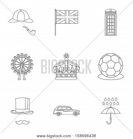 Tourism in United Kingdom icons set. Outline illustration of 9 tourism in United Kingdom vector icons for web