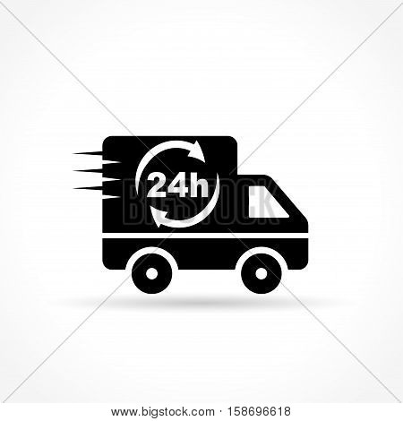 Illustration of delivery van icon on white background
