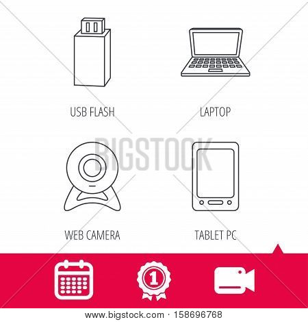 Achievement and video cam signs. Web camera, USB flash and notebook laptop icons. Tablet PC linear sign. Calendar icon. Vector