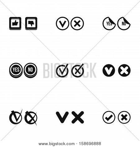 Tick icons set. Simple illustration of 9 tick vector icons for web