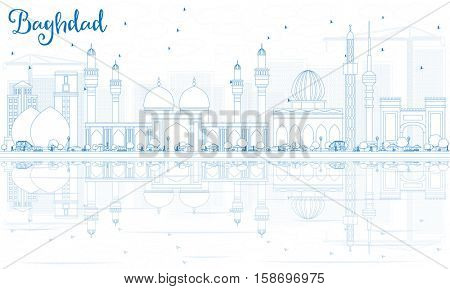 Outline Baghdad Skyline with Blue Buildings and Reflections. Vector Illustration. Business Travel and Tourism Concept with Historic Architecture. Image for Presentation Banner Placard and Web Site.