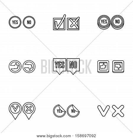 Cross and tick icons set. Outline illustration of 9 cross and tick vector icons for web