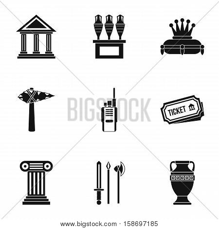 Gallery in museum icons set. Simple illustration of 9 gallery in museum vector icons for web