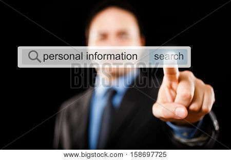 Businessman searching for personal informations on the web
