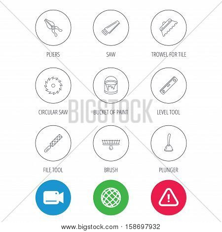 Trowel for tile, saw and brush tool icons. Level and file tool, bucket of paint linear signs. Plunger, pliers icons. Video cam, hazard attention and internet globe icons. Vector
