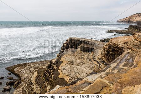 Point Loma tidepools eroded cliffs in San Diego, California.