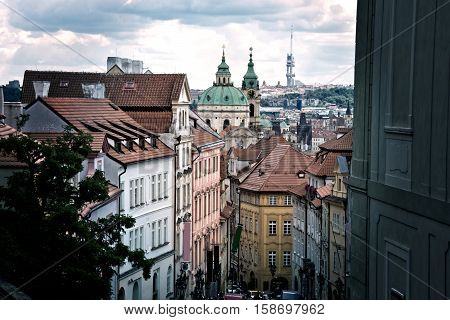Beautiful old streets and buildings of Prague. European capital city.