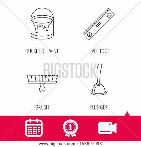 Achievement and video cam signs. Level tool, plunger and brush tool icons. Bucket of paint linear sign. Calendar icon. Vector
