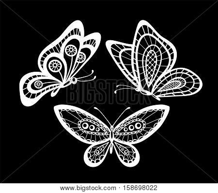 set of beautiful black and white guipure lace butterflies isolated. Floral design for greeting card and invitation of wedding birthday Valentine's Day mother's day and seasonal holiday