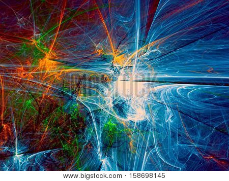 Abstract colourful background - computer-generated image. Fractal art: chaos lines and curves. Randomly placed touches. Bright backdrop for banners, posters, web design.