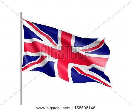 Waving flag of United Kingdom state. Illustration of European country flag on flagpole with red and white colors. Vector 3d icon isolated on white background