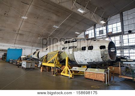 DAYTON, OHIO, USA - NOVEMBER 18, 2016: National Museum USAF is restoring WWII The Swoose B-17D Flying Fortress bomber the oldest B-17 & only D model in existence. Shown here in the restoration hanger.