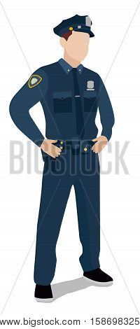 Police officer on a white background. Flat illustration