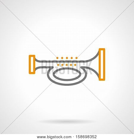 Abstract symbol of signal horn. Alarm sign, image of trumpet or bugle. Brass and woodwind musical instruments. Single gray and yellow simple line design vector icon.