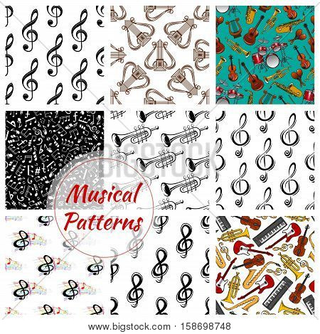 Musical notes and instruments patterns set. Vector seamless background of music stave, maracas, harp, trumpet, guitar and violin, saxophone, cymbals, drums, contrabass and piano