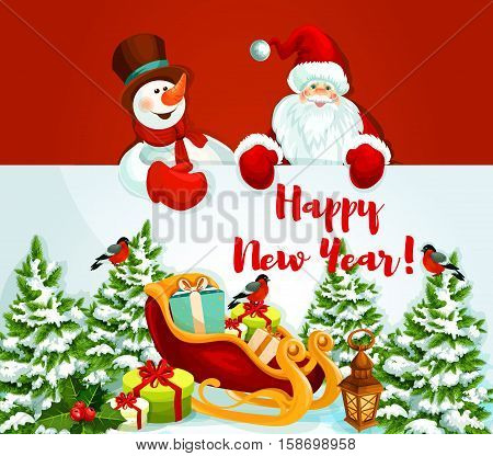 Santa Claus and snowman holding a New Year greeting card of santa sleigh with gift and present box, holly berry and lantern, pine tree covered with snow. Winter holiday design