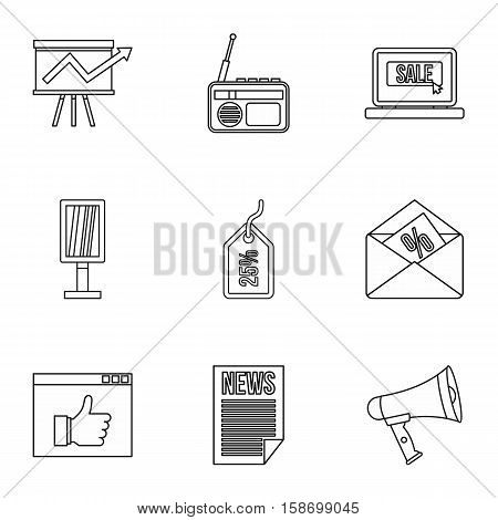 Contextual advertising icons set. Outline illustration of 9 contextual advertising vector icons for web