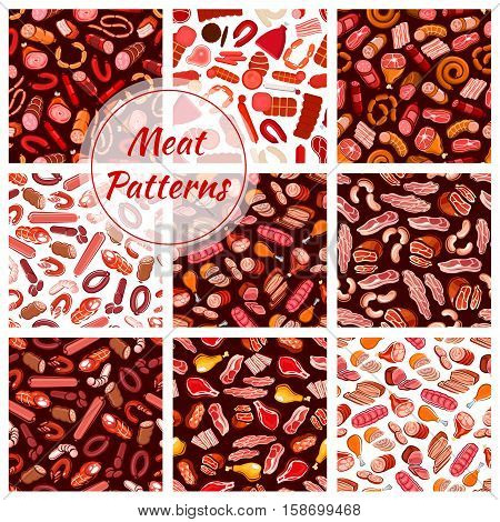 Meat patterns set. Vector seamless background of fresh and butcher shop delicatessen meat sausages, ham, bacon, beefsteak, schnitzel, salami, pepperoni, wurst, meatloaf, jamon