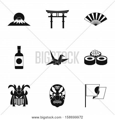 Country Japan icons set. Simple illustration of 9 country Japan vector icons for web