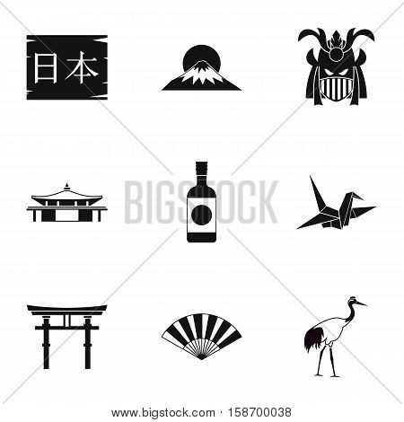 Attractions of Japan icons set. Simple illustration of 9 attractions of Japan vector icons for web