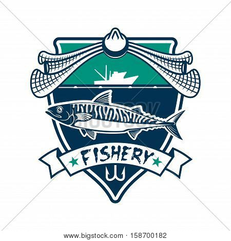 Fishing icon. Fishery industry vector isolated sign with salmon, cod, sturgeon fish, fishing rod hook, fishing net, fisherman ship boat, sea, ocean