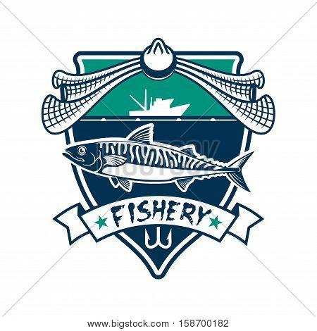Fishing icon. Fishery industry vector isolated sign with salmon, cod, sturgeon fish, fishing rod hook, fishing net, fisherman ship boat, sea, ocean